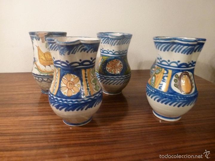 JUEGO DE CINCO JARRAS DE MANISES (7) (Antigüedades - Porcelanas y Cerámicas - Manises)