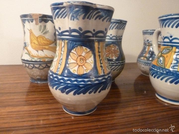 Antigüedades: juego de cinco jarras de manises (7) - Foto 11 - 55816781