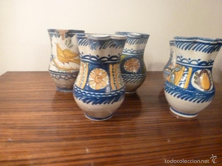 Antigüedades: juego de cinco jarras de manises (7) - Foto 14 - 55816781