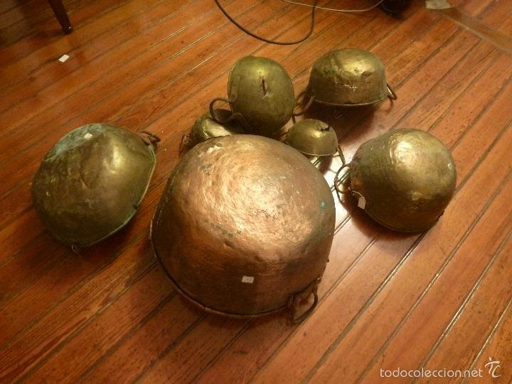 juego de cacerolas cobre laton comprar utensilios del hogar antiguos en