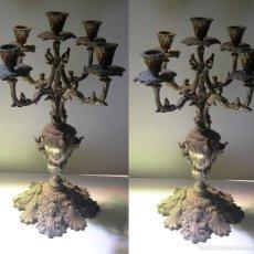 Antigüedades: PAREJA DE CANDELABROS DE CINCO VELAS. Lote 55818953