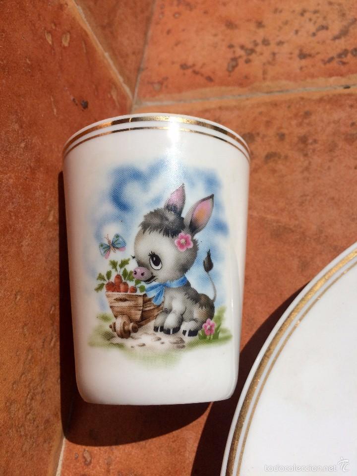 Antigüedades: Juego de Plato Vaso y Huevera de porcelana Limoges Francia - Foto 3 - 55821420