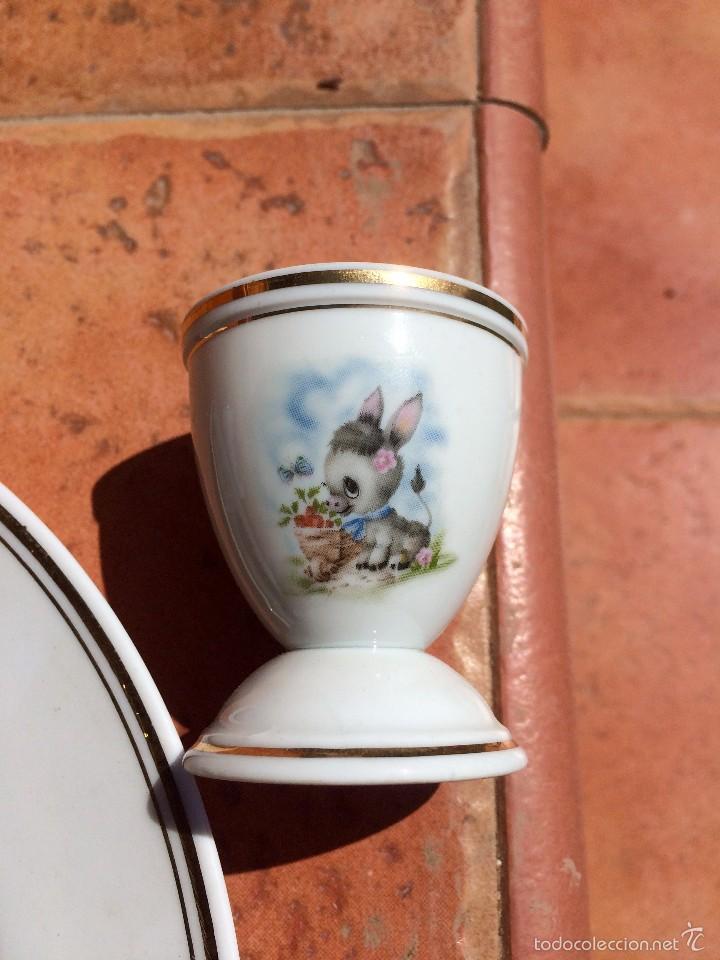 Antigüedades: Juego de Plato Vaso y Huevera de porcelana Limoges Francia - Foto 4 - 55821420
