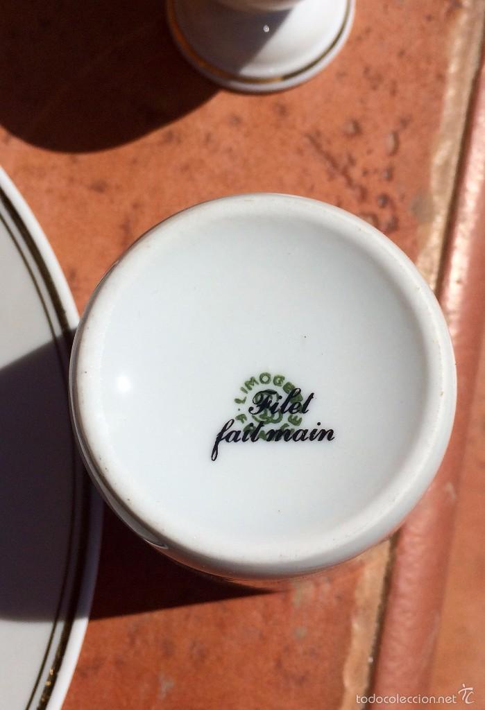 Antigüedades: Juego de Plato Vaso y Huevera de porcelana Limoges Francia - Foto 7 - 55821420