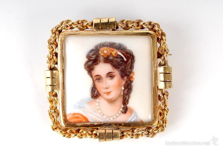 ANTIGUO BROCHE PRENDEDOR PORCELANA LIMOGES FRANCE (Antigüedades - Porcelana y Cerámica - Francesa - Limoges)