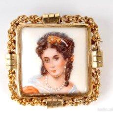 Antigüedades: ANTIGUO BROCHE PRENDEDOR PORCELANA LIMOGES FRANCE. Lote 55824389