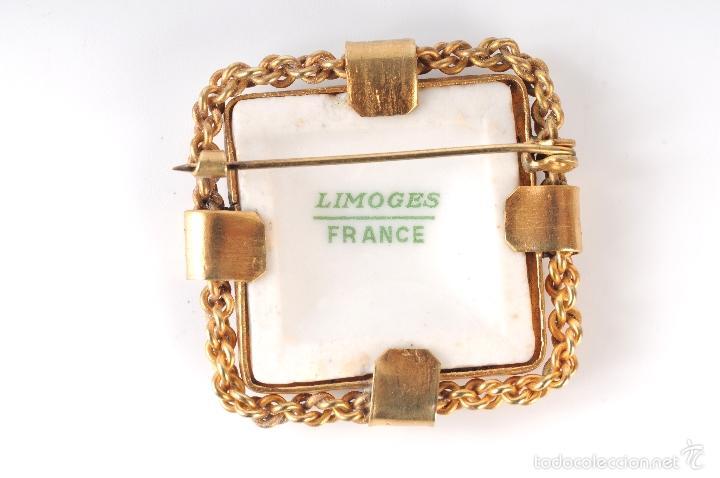 Antigüedades: ANTIGUO BROCHE PRENDEDOR PORCELANA LIMOGES FRANCE - Foto 2 - 55824389
