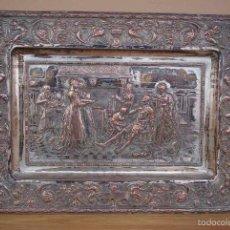 Antigüedades: CUADRO BANDEJA REPUJADO DE COBRE ESCENA DON QUIJOTE DE LA MANCHA. Lote 55855098