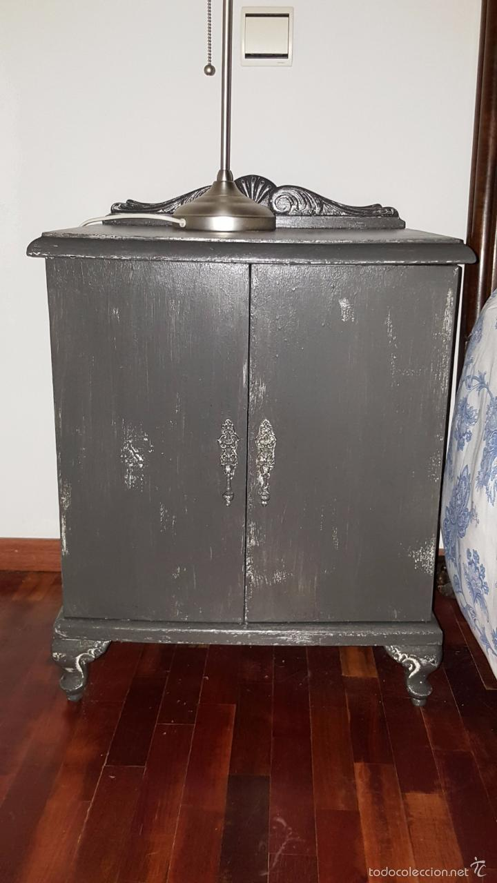 Antigüedades: Pareja de mesillas de noche pintadas en gris grafito. - Foto 8 - 54139387