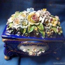 Antiquitäten - antigua caja de porcelana, grande, marcas en base de españa - 55858485