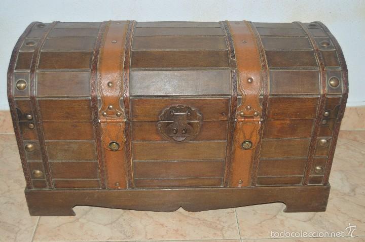 Precioso y antigua arca cofre baul de madera 62 comprar - Baules antiguos de madera ...