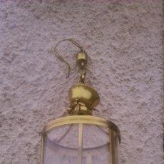 Antigüedades: ANTIGUO FAROL DE BRONCE,LATÓN Y CRISTAL.. Lote 55860765