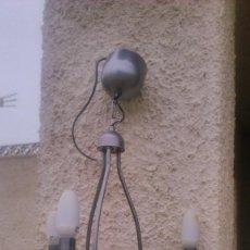 Antigüedades: LAMPARA DE SALÓN LACADA EN GRIS. LATÓN.. Lote 55861028