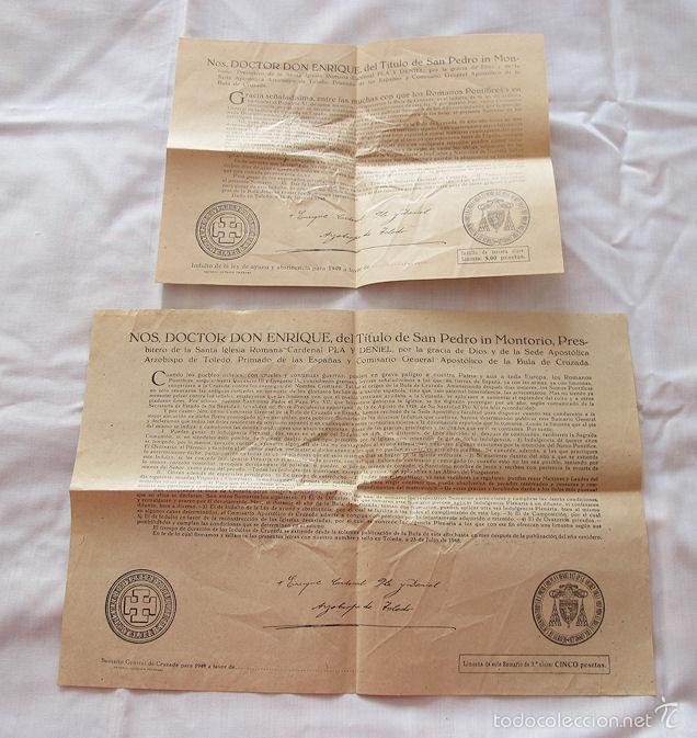 2 BULAS DE SANTA CRUZADA Y AYUNO 1949 (Antigüedades - Religiosas - Varios)