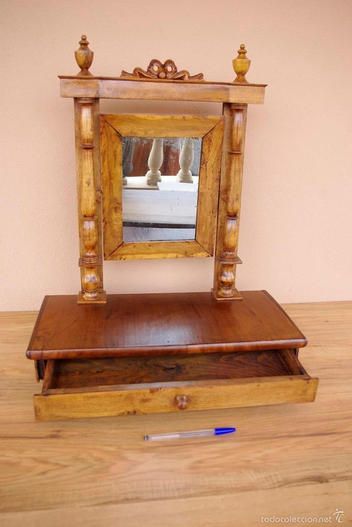 Antigüedades: Mueble tocador isabelino pequeño transportable. - Foto 2 - 55861658
