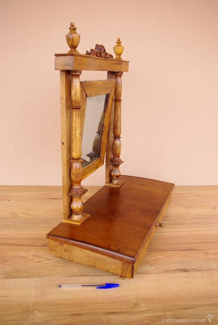 Antigüedades: Mueble tocador isabelino pequeño transportable. - Foto 3 - 55861658