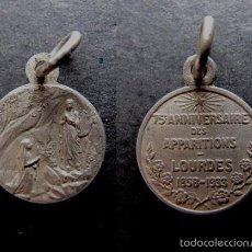 Antigüedades: MEDALLA RELIGIOSA ANTIGUA 15 ANIVERSARIO DE LA APARICION DE LA VIRGEN DE LOURDES 1858 - 1933. Lote 55864200