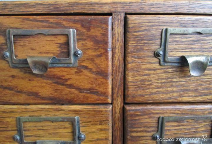 Antigüedades: FICHERO DE CAJONES de roble con tiradores de metal latón - Foto 6 - 21536048