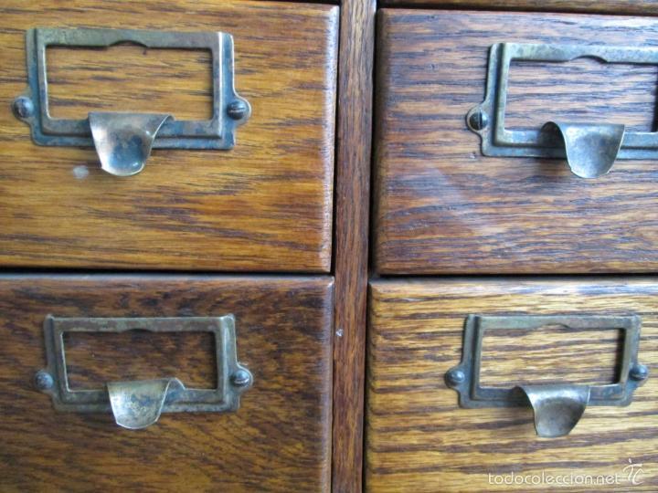 Antigüedades: FICHERO DE CAJONES de roble con tiradores de metal latón - Foto 7 - 21536048