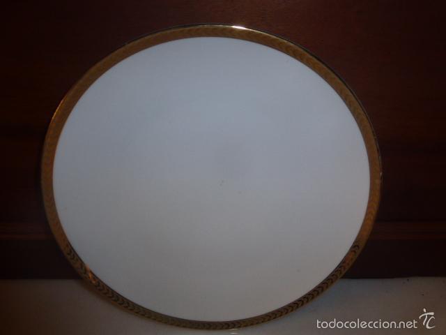PLATO DE PORCELANA CON FILO EN ORO. (Antigüedades - Porcelanas y Cerámicas - Otras)