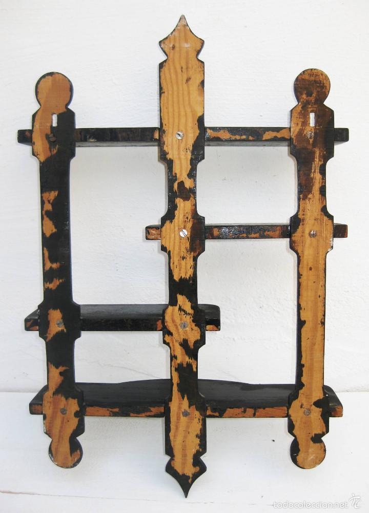 Antigüedades: MUEBLE VINTAGE ANTIGUO ESTANTERIA ANTIGUA PEQUEÑA IDEAL COLECCIONES - Foto 3 - 55875010