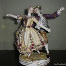 Antigüedades: PRECIOSA FIGURA DE BAILARINES CON SELLO. Lote 55879256