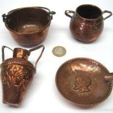 Antigüedades: LOTE 4 MINIATURAS . PIEZAS ANTIGUAS EN COBRE . JUGUETE ANTIGUO. Lote 55881352