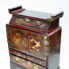 Antigüedades - JOYERO - ARMARIO TOCADOR - PAPELERO JAPONÉS - LACADO EN LACA ROJIZA - S . XIX - 55883262