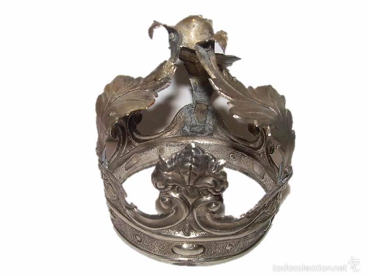 ANTIGUA CORONA DE PLATA...PARA IMAGEN DE SANTO.....SIGLO..XVIII. (Antigüedades - Religiosas - Orfebrería Antigua)