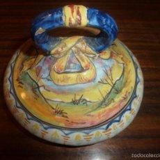 Antigüedades: TAPA DE BOTE DE CERAMICA. Lote 55985141