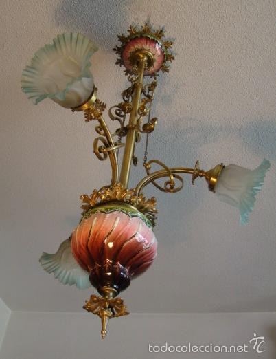 Antigüedades: ANTIGUA LAMPARA MODERNISTA. BRONCE, LATON Y PORCELANA. EN FUNCIONAMIENTO - Foto 3 - 55992334