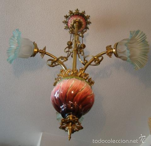 Antigüedades: ANTIGUA LAMPARA MODERNISTA. BRONCE, LATON Y PORCELANA. EN FUNCIONAMIENTO - Foto 4 - 55992334
