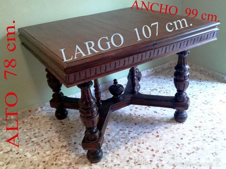 Antigüedades: PRECIOSA MESA COMEDOR TABLERO LATERAL TALLADO Y PATAS TORNEADAS CON PUENTE. - Foto 2 - 55992835