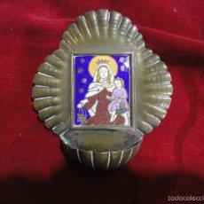 Antigüedades: PILETA DE PLATA Y ESMALTE. Lote 55999715