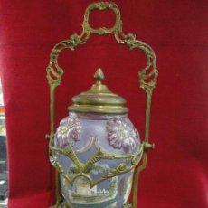 Antigüedades: GALLETERO,VIDRIO-METAL. Lote 55999930