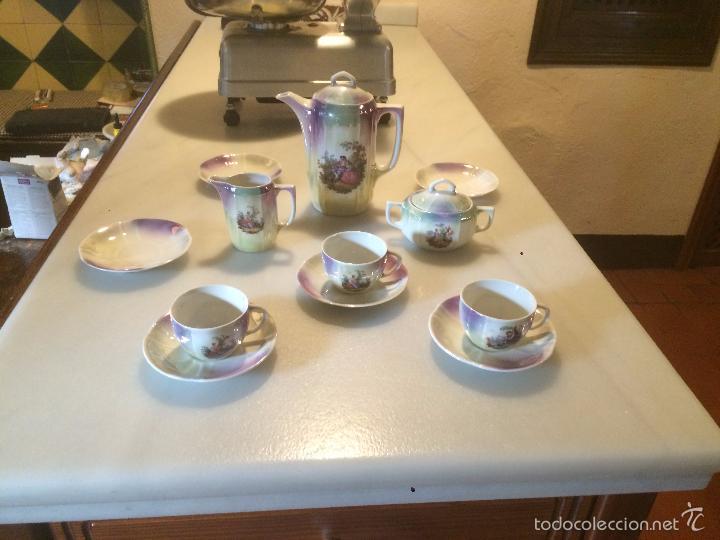 antiguo juego vajilla de caf de porcelana de babaria con reflejos en azul marino aos