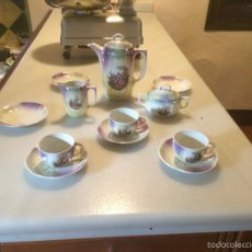 Antigüedades: ANTIGUO JUEGO / VAJILLA DE CAFÉ DE PORCELANA DE BAVARIA CON REFLEJOS EN AZUL MARINO AÑOS 10-20. Lote 56004041