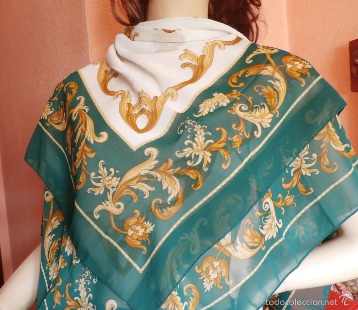 VTG PAÑUELO CHAL DE SEDA 100% HANDMADE (Antigüedades - Moda - Pañuelos Antiguos)