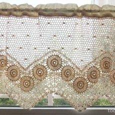 Antigüedades: EXCEPCIONAL CORTINA DE GANCHILLO A MANO. BEIGE 120 X 45 CM. NUEVO. Lote 113235276