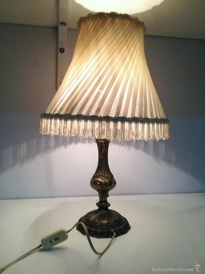Lampara antigua de bronce lamparita con pantal comprar - Venta de lamparas antiguas ...