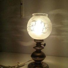 Antigüedades: LAMPARA ANTIGUA CON TULIPA DE CRISTAL MODERNISTA. Lote 56050960