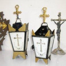 Antigüedades: FANTASTICOS FAROLES LAMPARA DE VELAS ANTIGUOS VINTAGE RELIGIOSOS IDEAL CAPILLA O ALTAR. Lote 56055572
