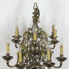 Antigüedades: LAMPARA DE TECHO EN LATON DE 12 BRAZOS. CIRCA 1950. . Lote 56083149