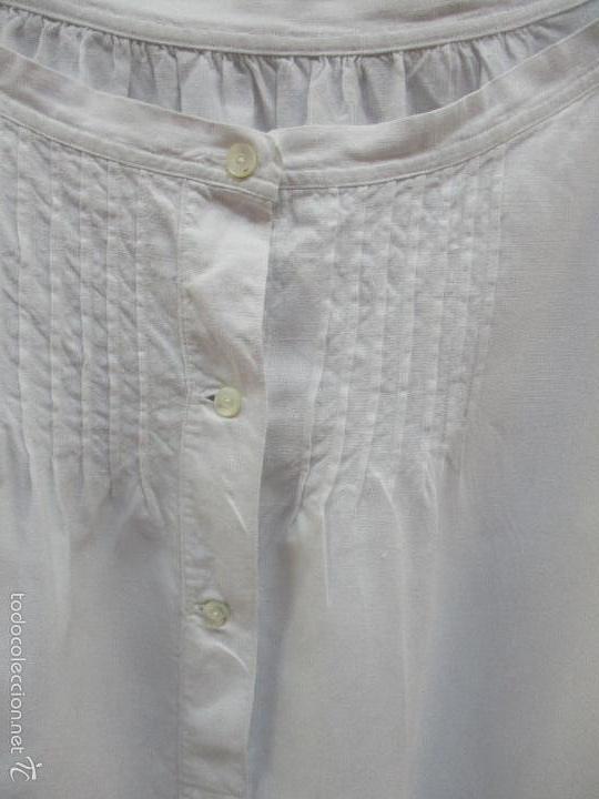 Antigüedades: Antiguo camisón - vestido de hilo - hecho a mano - siglo XIX - Foto 3 - 56115577
