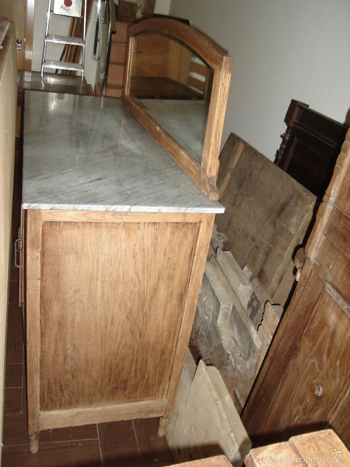 Antigüedades: aparador con mármol y espejo - Foto 4 - 56115832