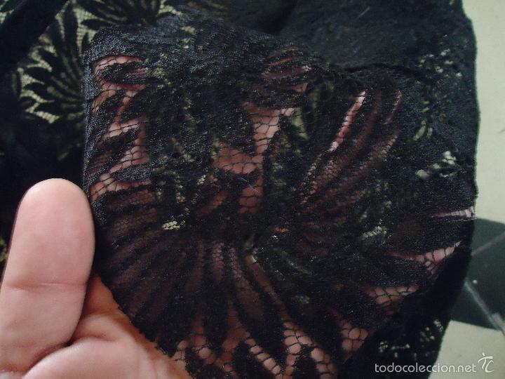 Antigüedades: 4,30 M LUJOSA TELA BORDADA PERFECTA TRAJE MANTILLA LUTO BODA MADRINA VIRGEN DOLOROSA SEMANA SANTA - Foto 12 - 56119953