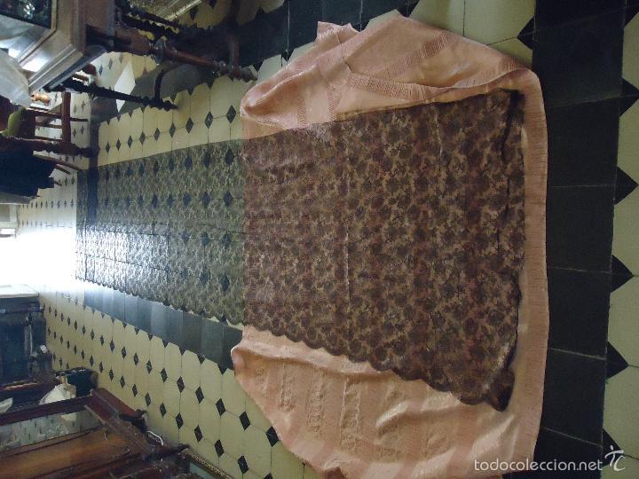 Antigüedades: 4 METROS X 90 CM ANCHO ENCAJE TUL BORDADO TIPO MANTILLA CHANTILLI CHANTILLY SEMANA SANTA VIRGEN - Foto 2 - 56121094