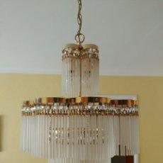 Antigüedades: LAMPARA CRISTAL Y LATÓN. Lote 56124909