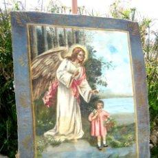 Antigüedades: ANTIGUA PINTURA OLEO SANTO ANGEL DE LA GUARDA O CUSTODIO - TAPIZ PINTADO 100 X 80 CM. Lote 176315473