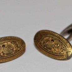 Antigüedades: GE034 GEMELOS DAMASQUINADOS. METAL Y ORO DE TOLEDO. ESPAÑA. AÑOS 30. Lote 149315708